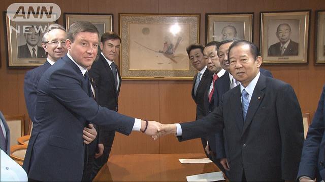 二階幹事長 ロシアの与党「統一ロシア」幹部と会談