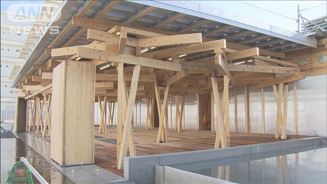 五輪選手村の施設公開 木のぬくもり生かした建築の画像